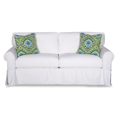 Craftmaster Gabi Cottage Style Slipcover Sofa with Rolled Arms and Kick Pleat Skirt