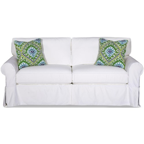 Craftmaster 9228 Cottage Style Slipcover Sleeper Sofa with Skirted Base and Memory Foam Mattress