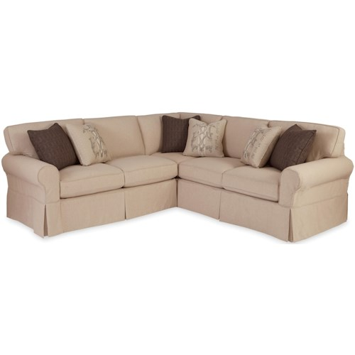 Craftmaster 9228 Two Piece Slipcovered Sectional Sofa with RAF Return Sofa