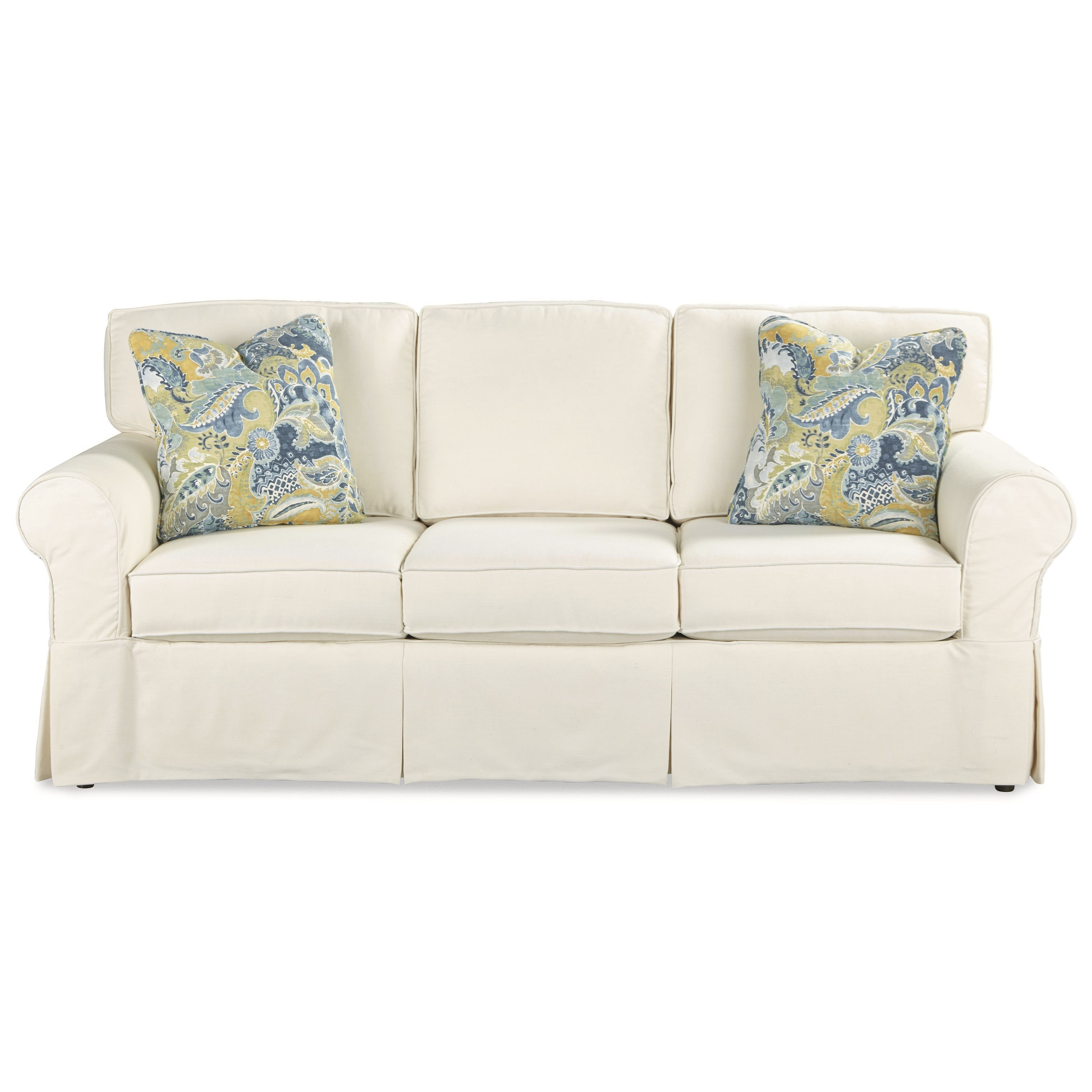Casual Slipcover Sleeper Sofa with Queen Memory Foam Mattress