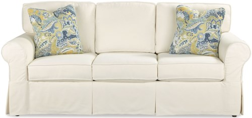 Craftmaster 9229 Casual Slipcover Sleeper Sofa with Queen Memory Foam Mattress