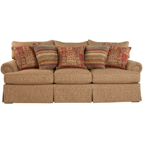 Craftmaster 9275 Loose Pillow Back Sofa with Rolled Arms and Skirt