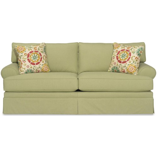 Craftmaster 9354 Casual Skirted Sofa with Rolled Arms