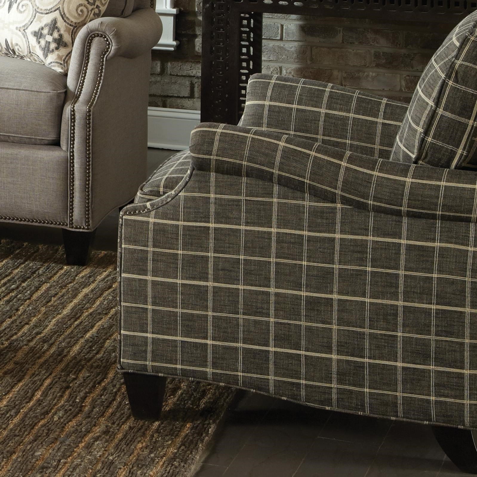Transitional Chair with Clipped Corner Shape and Nailhead Trim
