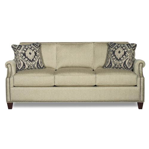 Craftmaster Reed Transitional Sofa with Clipped Corner Shape and Nailhead Trim