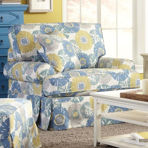 Craftmaster 9521 Skirted Chair with Faux Slipcover Look