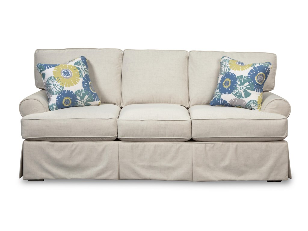 Craftmaster 9521 Skirted Sofa With Faux Slipcover Look