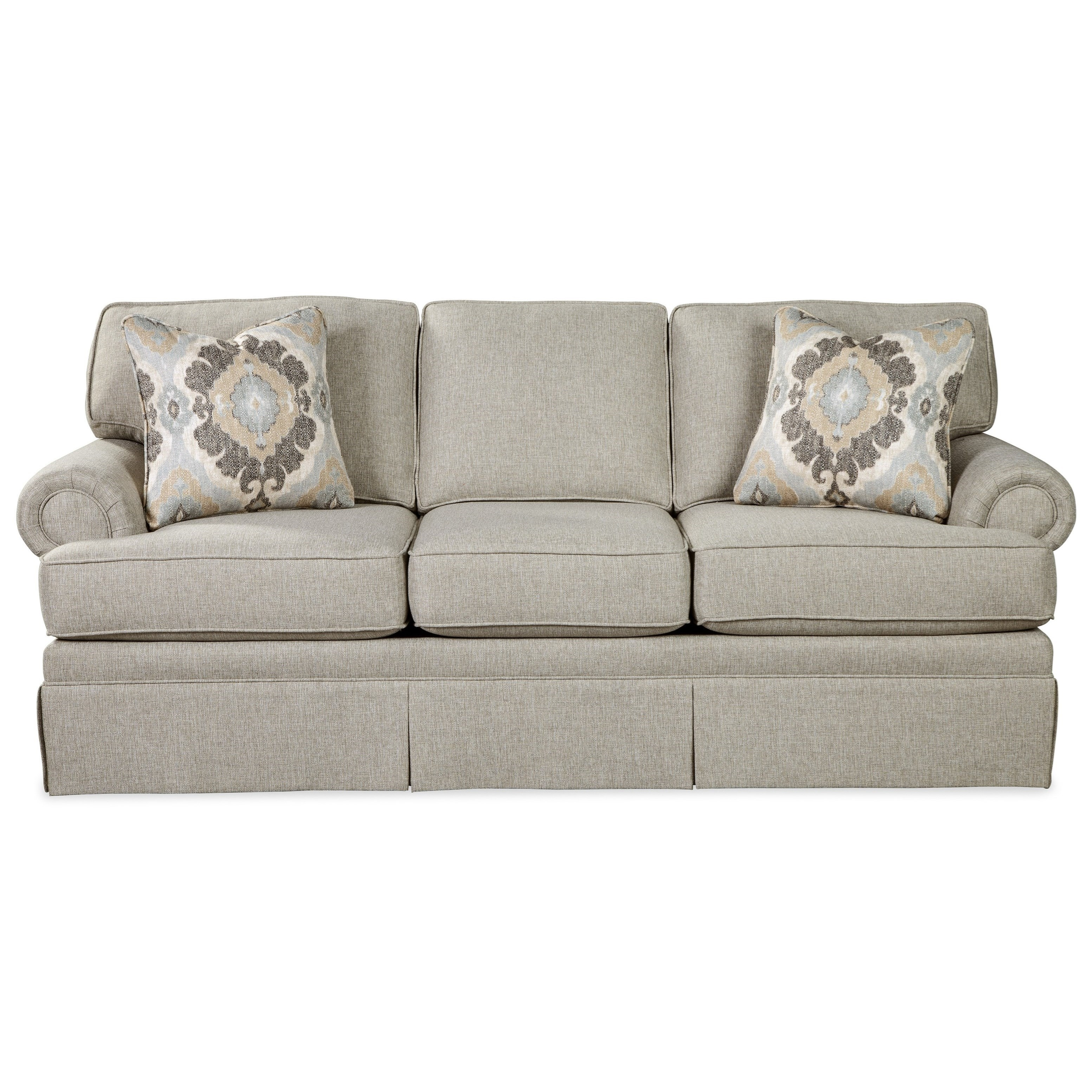 Craftmaster 981550 Traditional Skirted Sofa With Queen Memory Foam Sleeper