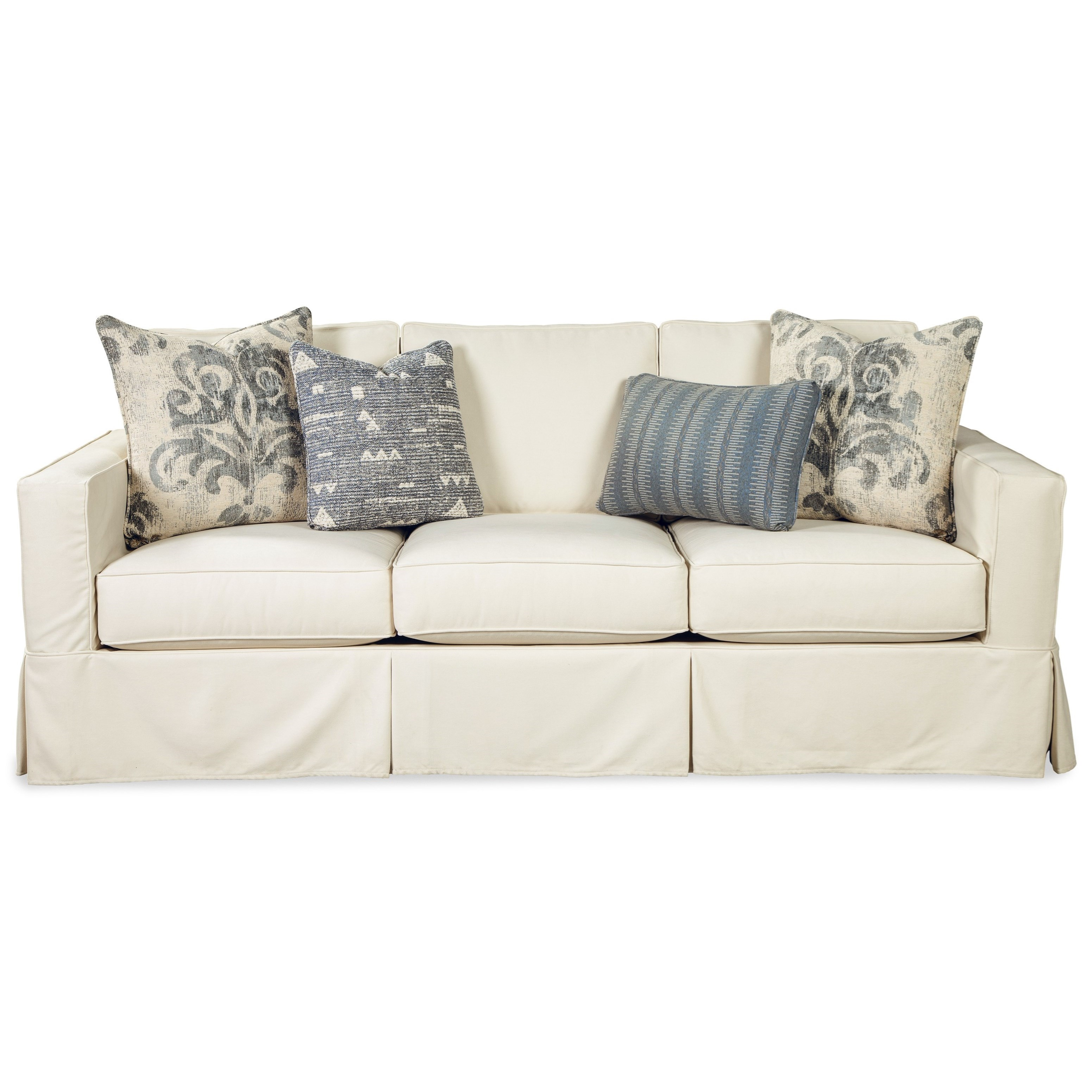 Vintage Skirted Slipcover Sofa with Queen Size Memory Foam Sleeper