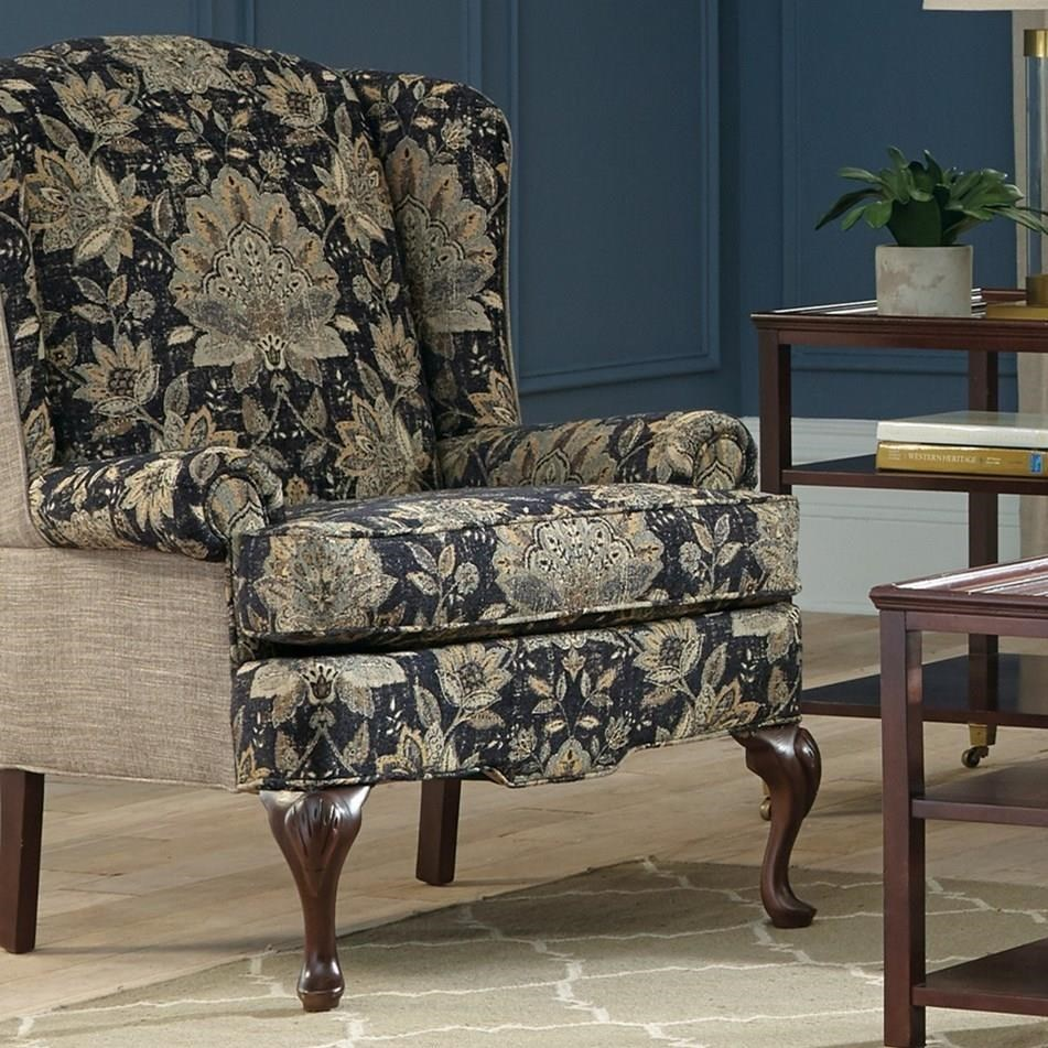 Craftmaster Accent Chairs Traditional Wing Chair with Cabriole Legs & Craftmaster Accent Chairs Traditional Wing Chair with Cabriole Legs ...