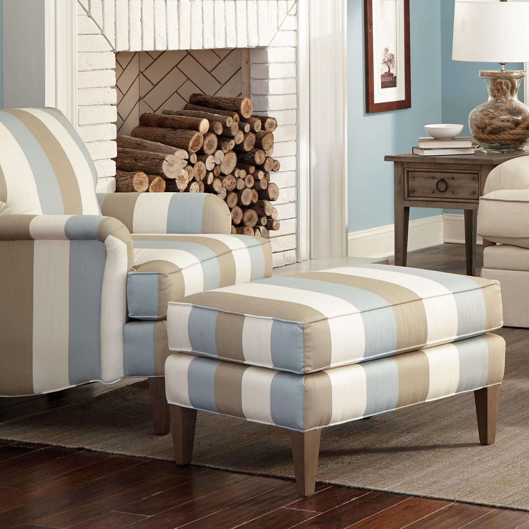 Hickory Craft Accent Chairs Transitional Chair And Ottoman Set