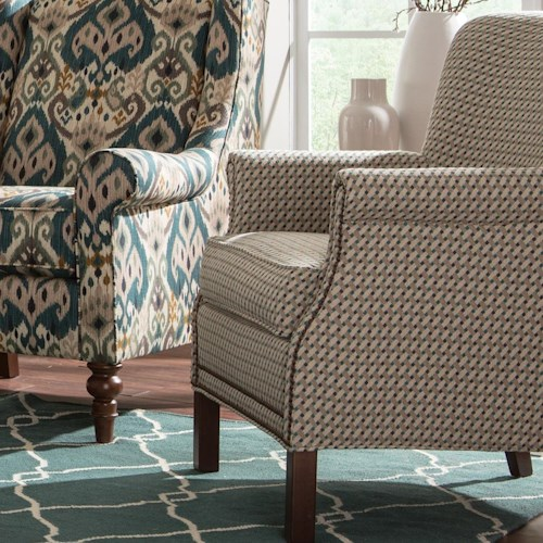 Craftmaster Accent Chairs Transitional Rolled Arm Accent Chair with Nailhead Trim