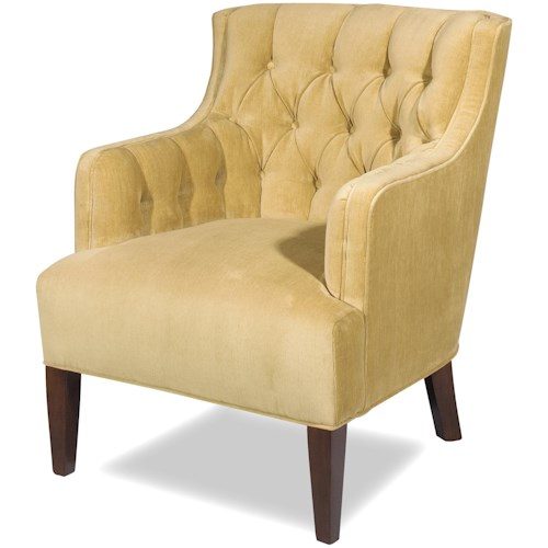 Craftmaster Accent Chairs Transitional Wing Chair with Button-Tufted Back