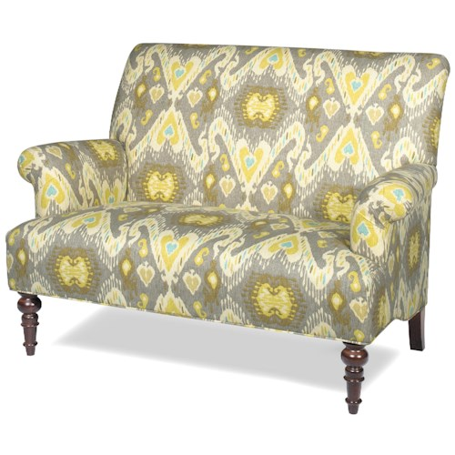 Craftmaster Accent Chairs Traditional Settee with Rolled Arms and Turned Wood Legs