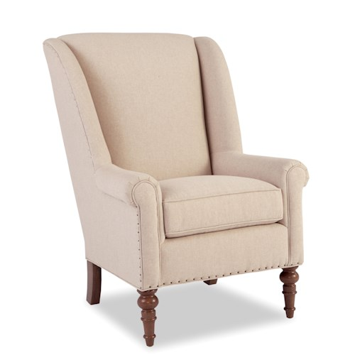 Craftmaster Accent Chairs Traditional Chair with Modified Wing Back and Vintage Tack Nailheads