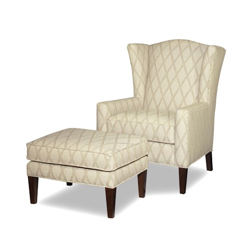Craftmaster Accent Chairs Wing Chair and Ottoman with Wide Flared Wings