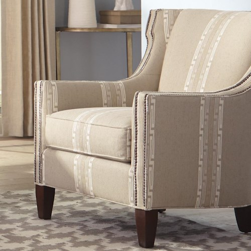Hickorycraft Accent Chairs Transitional Wing Chair With Nailhead