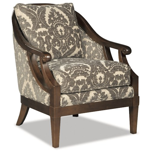 Cozy Life Accent Chairs Traditional Wood-Framed Accent Chair with Scroll Arms