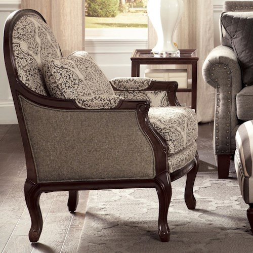 Cozy Life Accent Chairs Traditional Chair with Cabriole Legs and Exposed Wood Frame