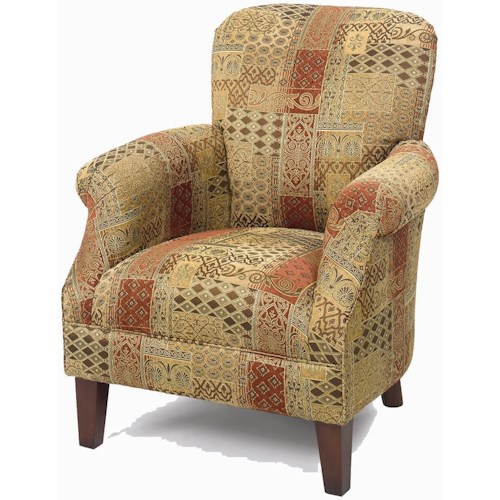 Craftmaster Accent Chairs Tight Back Accent Chair with Tapered Exposed Wood Legs