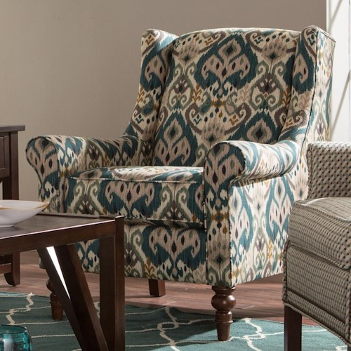 Craftmaster Accent Chairs Wing Back Chair with Traditional Turned Legs
