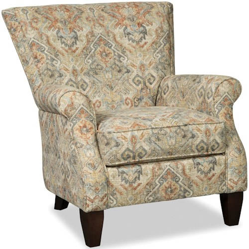 Craftmaster Accent Chairs Contemporary Upholstered Chair with Rolled Arms
