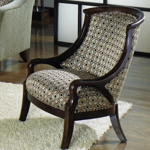 Craftmaster Accent Chairs Contemporary Upholstered Barrel Back Exposed Wood Frame Arm Chair