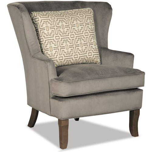 Craftmaster Accent Chairs Traditional Upholstered Wing Chair with Track Arms and Exposed Wood Feet