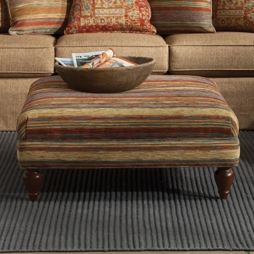 Craftmaster Accent Ottomans Cocktail Ottoman with Turned Wood Feet