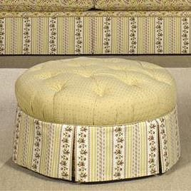 Craftmaster Accent Ottomans Round Tufted Ottoman with Skirt