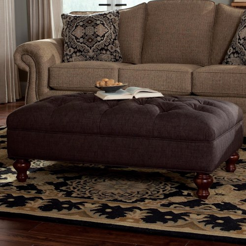 Craftmaster Accent Ottomans Extra Large Tufted Ottoman with Bun Wood Feet