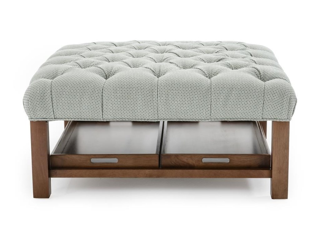 hot sale online 51568 744db Accent Ottomans Cocktail Ottoman with Button-Tufting and Storage Trays by  Craftmaster at Baer's Furniture