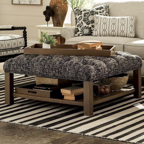 Craftmaster Accent Ottomans Cocktail Ottoman with Button-Tufting and Storage Trays