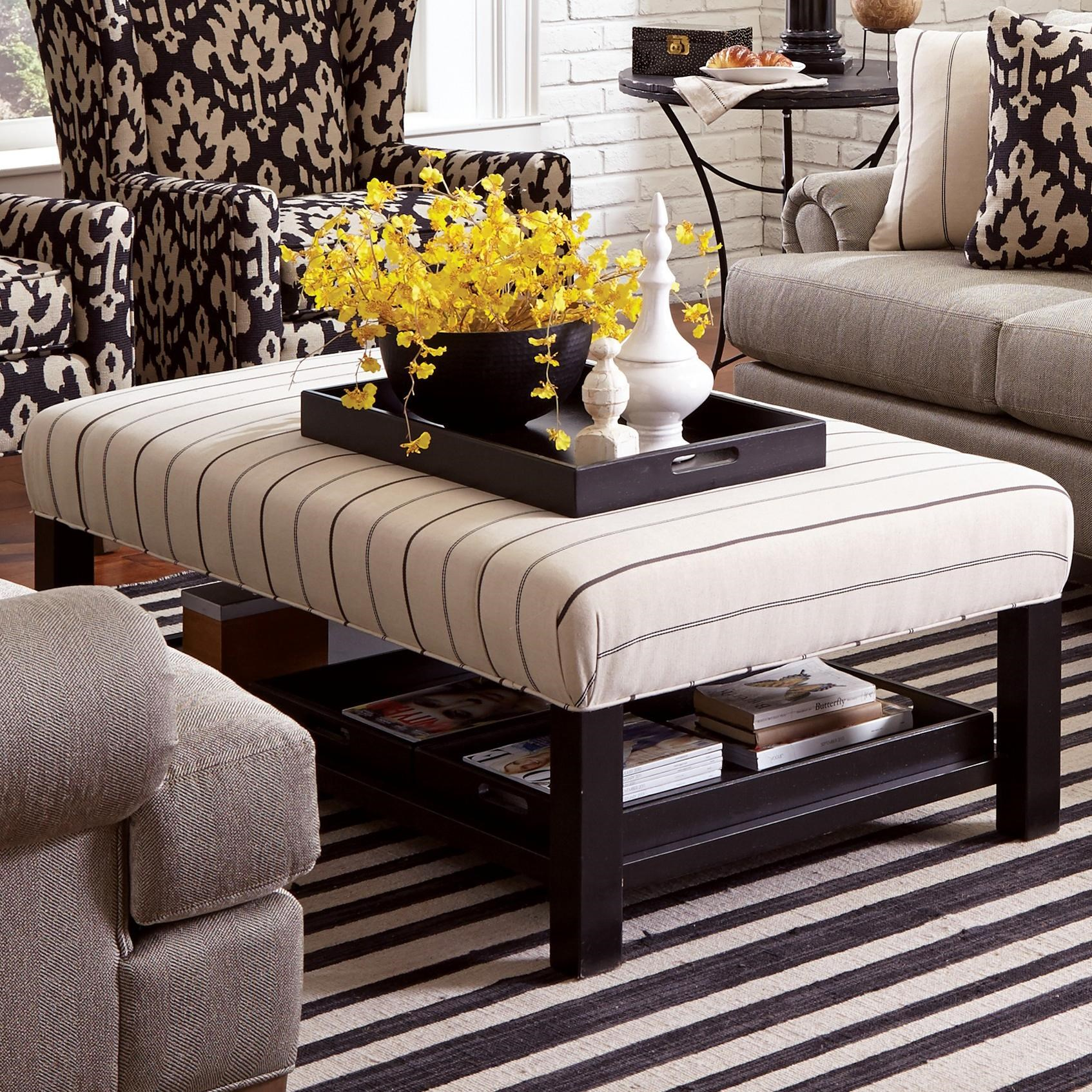 Charmant Craftmaster Accent Ottomans Contemporary Storage Bench Ottoman With Three Storage  Trays