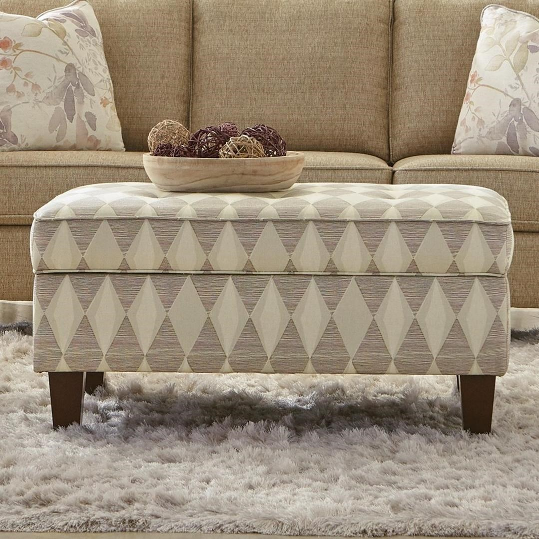 Transitional Storage Ottoman with Button-Tufted Seat