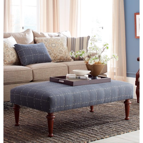 Craftmaster Accent Ottomans Transitional Cocktail Ottoman with Tall Turned Legs