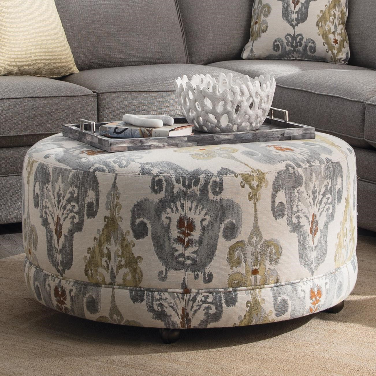 Hickorycraft Accent Ottomans Round Contemporary Ottoman With Casters