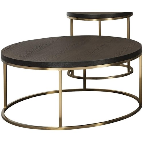 Craftmaster Craftmaster Accent Tables Round Cocktail Table with Metal Base