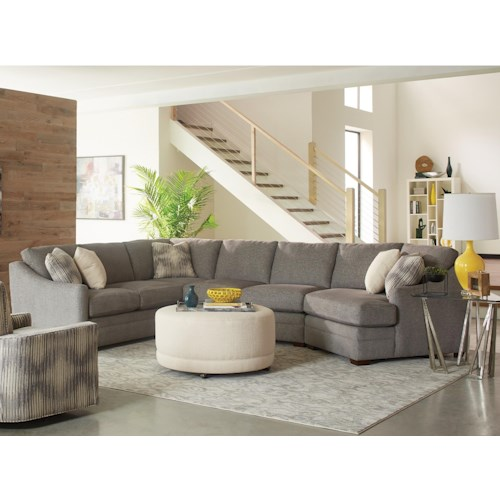 Craftmaster F9 Custom Collection Customizable Three Piece Sectional Sofa with Track Arms and Semi Attached Backs