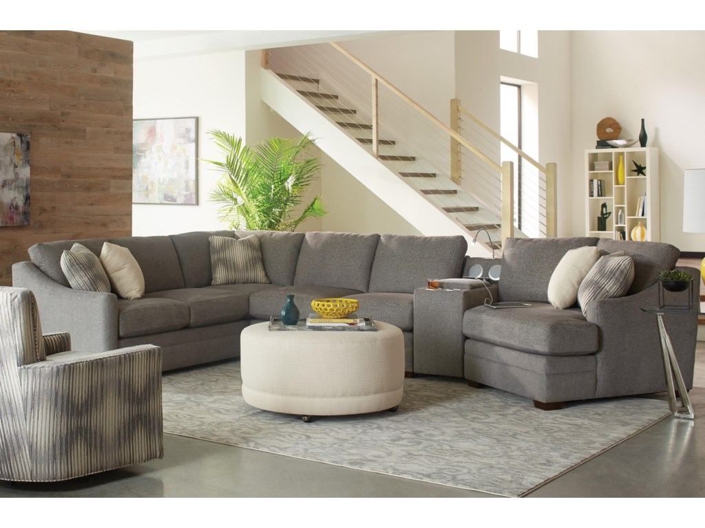 Craftmaster F9 Custom Collection4 pc Sectional Sofa w/ Power Console
