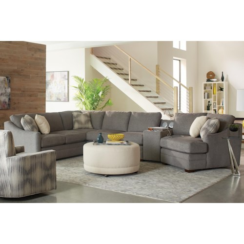 Craftmaster F9 Custom Collection Customizable Four Piece Sectional Sofa with Track Arms and Power Entertainment Console