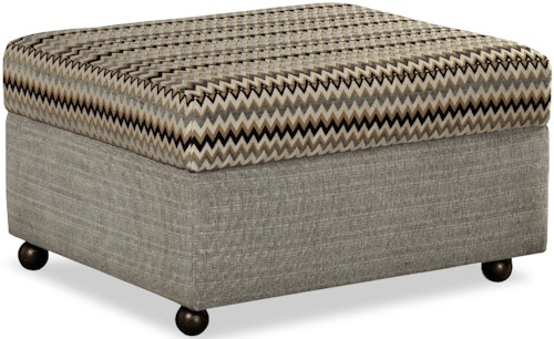 Craftmaster F9 Custom Collection Customizable Lift Top Storage Ottoman with Casters