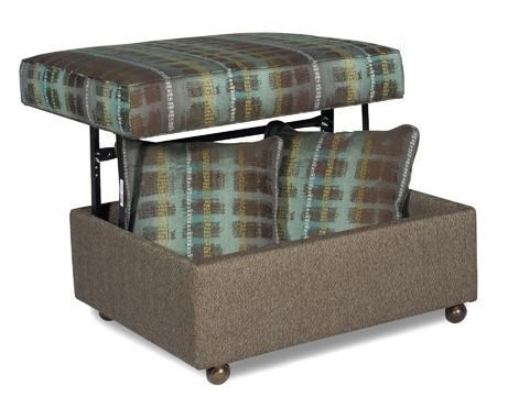 Craftmaster F9 Custom Collection Customizable Lift Top Storage Ottoman With  Two Toss Pillows And Casters