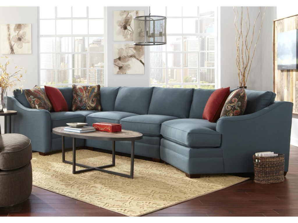F9 Custom Collection Four Piece Customizable Sectional Sofa with RAF  Cuddler by Hickorycraft at Howell Furniture