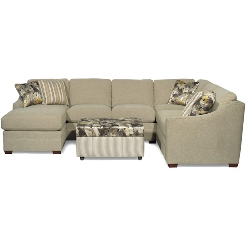 Craftmaster F9 Custom Collection <b>Customizable</b> 3-Piece Sectional with RAF Sofa w/ Return