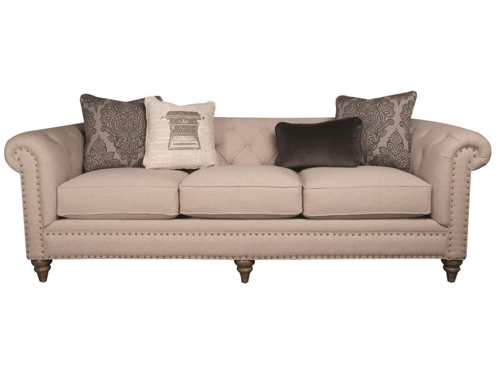 Humphrey Classic Modern Long Sofa with Decorative Pillows and Nailhead Trim  by Main & Madison at Morris Home