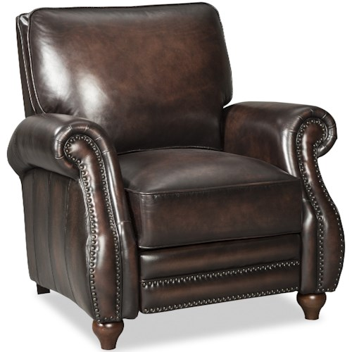 Craftmaster L121550 Traditional Leather High Leg Recliner with Turned Wood Feet