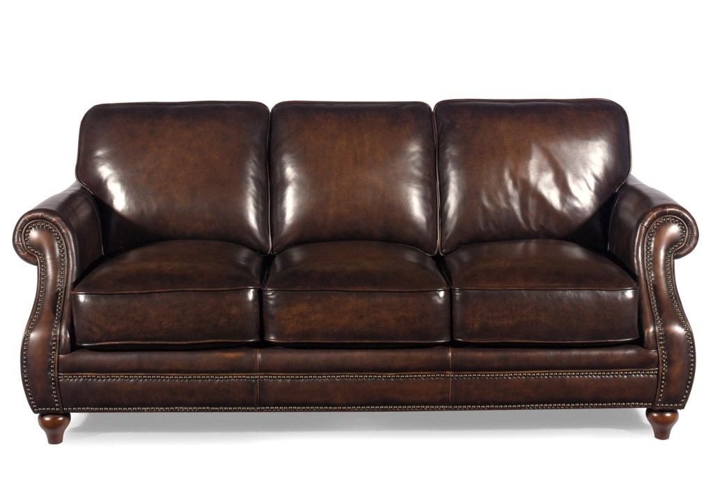 Craftmaster L1215 Traditional Leather Sofa With Rolled Arms And