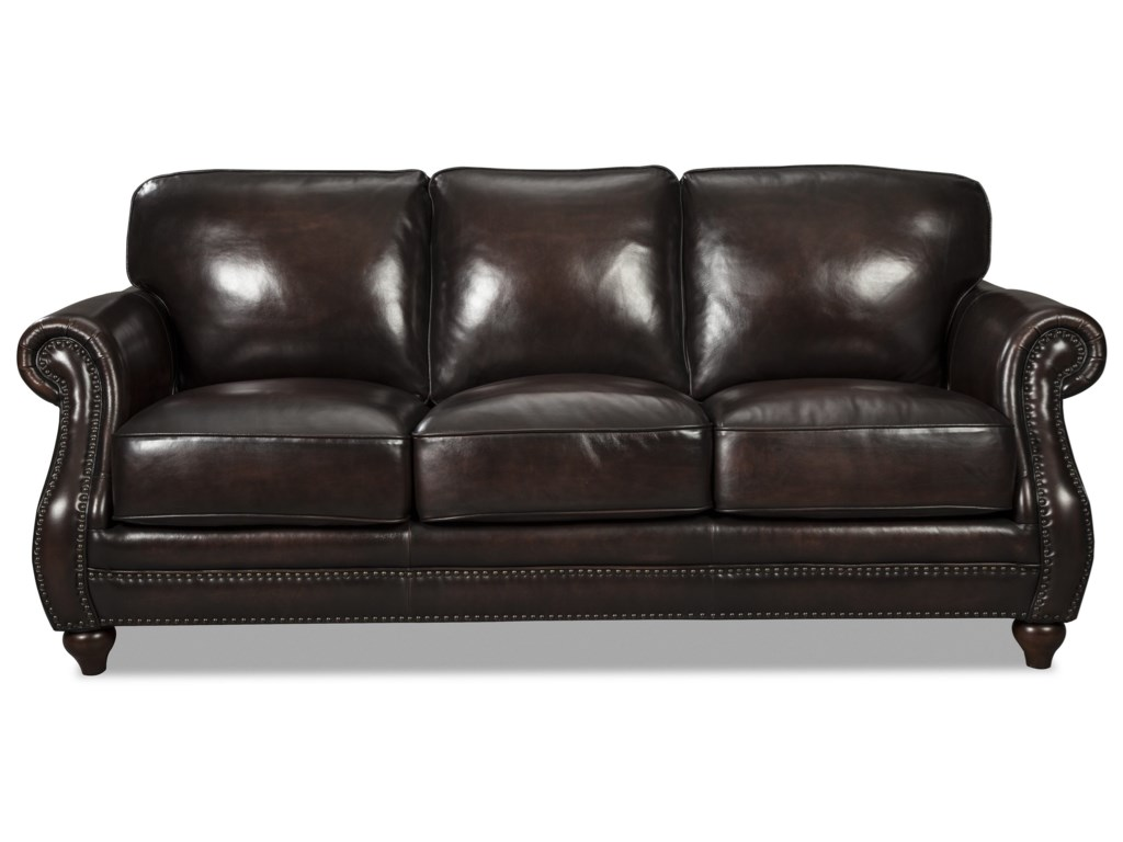 L121550 Traditional Leather Sofa With Rolled Arms And Nailhead Trim By Craftmaster