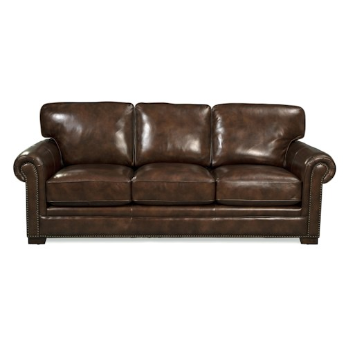 Craftmaster L154350      Leather Sofa with Rolled Arms and Nailheads